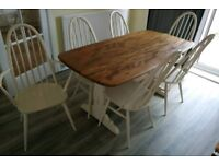 Ercol refectory table and 6 chairs. Country style, farrow and ball.