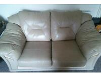 2 seater leather cream sofa!