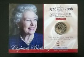queen elizabeth ll 80th birthday crown / five pound coin ' limited edition