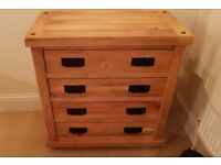 Pair of Baku Light Natural Solid Mango 4 Drawer Chests