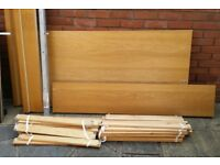 ikea malm double bed frame. Oak veneer. with solid wood slats. In good condition.