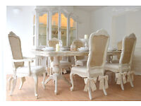 !!! UNIQUE & BEAUTIFUL !!! French Antique Shabby Chic Dining Table with Six Chairs and Deco Bows !!!