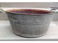 Galvanised metal planter