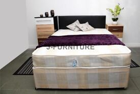 OPT HEADBOARD & DRAWERS BRAND NEW DOUBLE & KING DIVAN BED WITH 9 INCH SEMI ORTHOPAEDIC MATTRESS