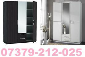 NEW 3 DOOR 2 DRAW WARDROBE ROBES TALLBOY + DELIVERY 84CC