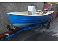 "12'6"" Bonwitco With unsinkable runabout, 25hp Mariner, centre console, wheel steering, trailer."