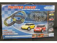 Mega Motors 'Twister Chase' Slot Car Racing Set 1:43 Scale Mini Cooper & Mercedes-Benz CLK DTM