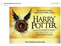 x2 Harry Potter and the Cursed Child Parts I & II Tickets (Sunday 19th Feb)