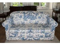 Sofa-bed - Blue and cream - Pompadour Toile Fabric