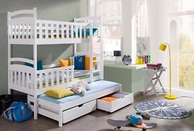 Triple Wooden Bunk Bed for Kids made of Solid Wood with 3 mattress