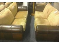 Pair of brown material and leather sofas (24355)