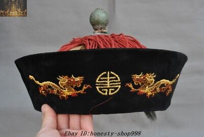 old chinese Ancient Cloth Embroidery Lucky Dragon Emperor king Headgear Hat Hats