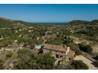 Spanish Finca Natural Stone Estate on Majorca, Seaview, Pool