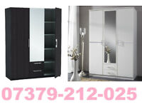 NEW 3 DOOR 2 DRAW WARDROBE ROBES TALLBOY + DELIVERY 72ABEUADU