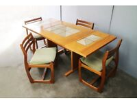 1960's mid century tiled dining table and 4 dining chairs