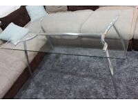 Glass & Chrome Dining Table, 6 Seater. 160 x 90cm