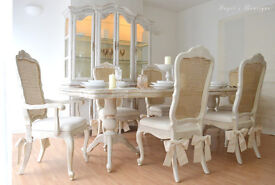 *** Perfect for Christmas *** UNIQUE & BEAUTIFUL !!! French Shabby Chic Dining Table & Six Chairs!!!