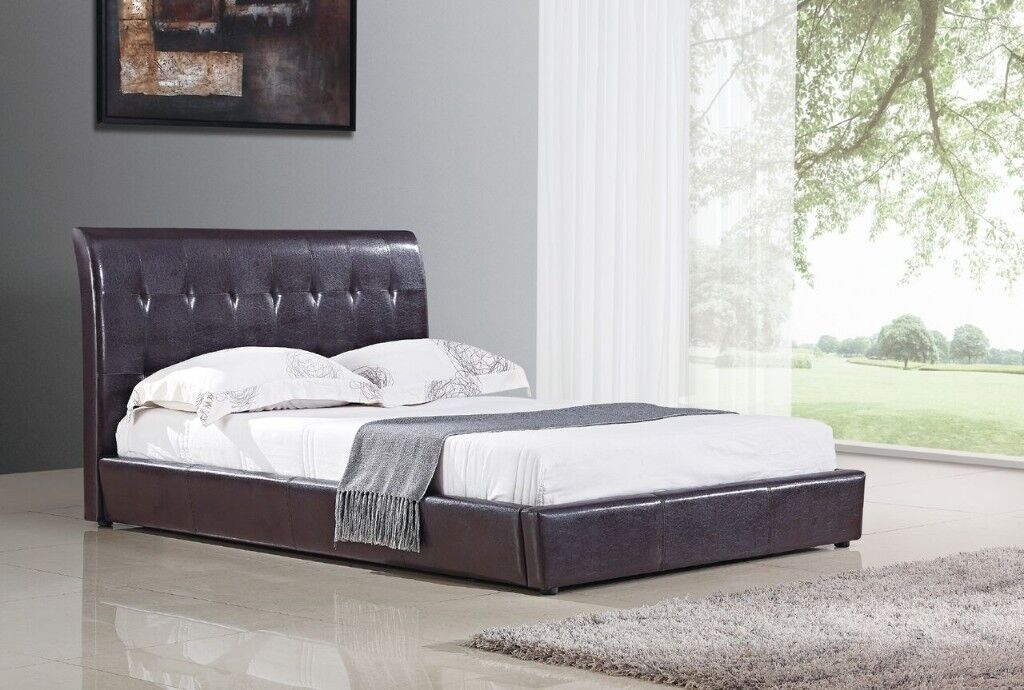 Vienna Double & King Size Bed frames in Brown Faux Leather | in ...