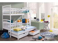 Bed ANINO, Wooden Bunk Bed, Triple Sleeper For Kids, Modern Bedroom Furniture