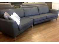 GLITTERY FABRIC - 4 Seater Designer Curved Sofa