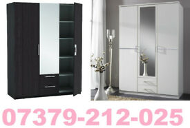 NEW 3 DOOR 2 DRAW WARDROBE ROBES TALLBOY + DELIVERY 1471BD