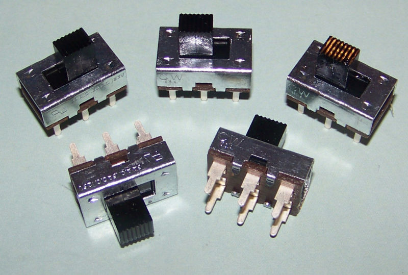 5 Pieces - CW Industries DPDT Slide Switch 3A 125VAC, 500mA 125VDC Made in USA