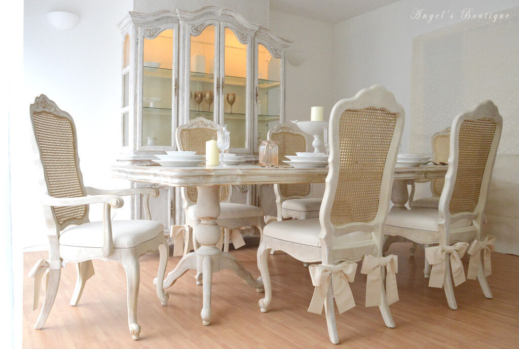 perfect for christmas unique beautiful french shabby chic dining table six chairs. Black Bedroom Furniture Sets. Home Design Ideas