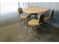 1960's mid century small dining table and 4 vinyl and chrome dining chairs