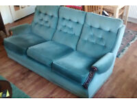 Three Piece Suite. Second-Hand, in Good Condition. 3 seat sofa and 2 armchairs