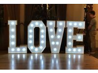 "4ft LED ""LOVE"" Letter Hire £130 (Perfect For Weddings) White Lights, Price Inc Delivery & Collection"
