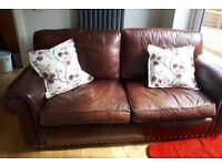 Quality antique leather 3 seater sofa plus 2 arm chairs