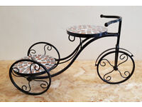 Mosaic Top Iron Metal Bicycle Plant Stand Garden Planter to hold 2 pot plants
