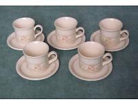 "5x cups & saucers + 4x bowls Biltons England ""Spring Bouquet"" Crocus design crockery tableware"
