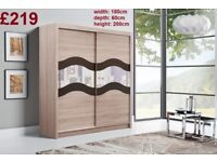 BRAND NEW Big ALMA 2 Doors Sliding Wardrobe with Mirror, Shelving, Hanging Rail FREE DELIVERY