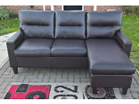 A New Fletcher 3 Seater Brown Leather L-shaped Lounger.