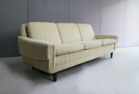 1970's Danish 3 seat sofa with oatmeal original fabric