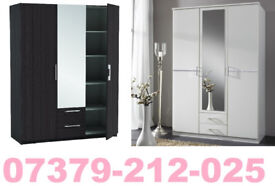 NEW 3 DOOR 2 DRAW WARDROBE ROBES TALLBOY + DELIVERY 90030BUD