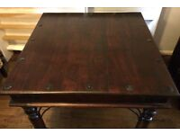 Colonial Antique Style Solid Wood Small Dining Table & 4 Wicker Chairs