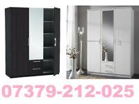NEW 3 DOOR 2 DRAW WARDROBE ROBES TALLBOY + DELIVERY 8789CBU