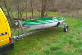 14ft fishing, sailing boat with snipe trailer