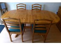 Pine Extending Table plus 4 Matching Chairs