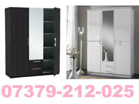 NEW 3 DOOR 2 DRAW WARDROBE ROBES TALLBOY + DELIVERY 368DEBCE