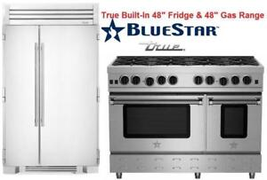 "www.aniks.ca 2018 RENOVATION SALE - True 48""  Built-In Side by Side Refrigerator BlueStar 48"" Gas Range"