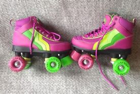 GIRL's RIO ROLLER QUAD SKATES - GRAPE - UK 1 & BAG & BOX - BARELY USED