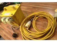 110 v transformer 2plug with 10 m extension lead