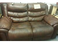Gorgeous 2 Seater Brown Leather Double Recliner