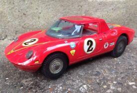 Vintage Asahi Tinplate Ferrari Berlinetta Racing Car Made in Japan