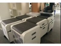 17 Under desk pedestal/drawers with integrated seat pad £90 each