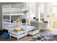 BUNK BED WHITE PINE TRIPLE WOODEN SOLID FOAM MATTRESSES AND STORAGE