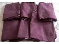 3 pairs of Dark Purple/Maroon Cotton Ikea tap top curtains